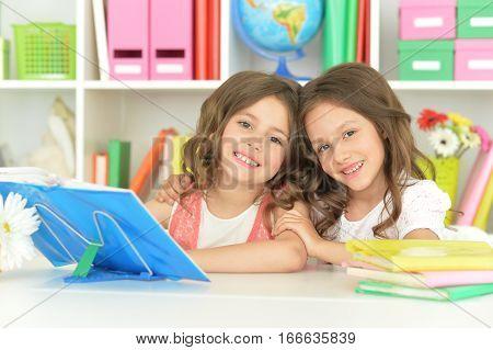 Portrait of a two cute little girls doing homework