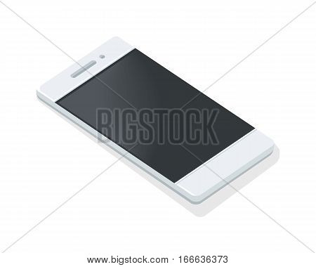 Mobile phone icon isolated. Portable telephone. Personal phone. Wireless connectivity concept. Connection device. White smartphone. Editable items in flat style. Accessories for work in office. Vector