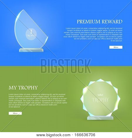 Premium reward. My trophy. Triumph glass award. Best prize. Set of trophy rewards web banner. Vector illustration in flat style. Success, victory, reward conceptual banners, web, app, icons