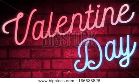 Flickering Blinking Red And Blue Neon Sign On Red Love Brick Wall Background, Valentine Day Holiday