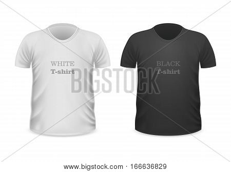 Front view white t-shirt and black t-shirt isolated on white. Realistic t-shirt vector in flat style. Popular colors t-shirt collection. Casual wear. Cotton unisex polo outfit. Fashionable apparel