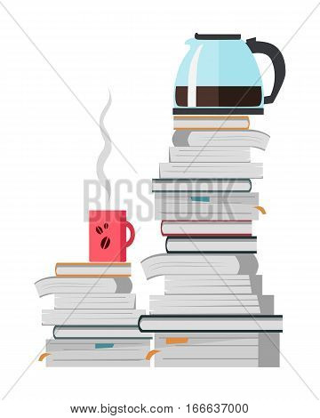offee pot and cup of strong hot coffee on the heap of books isolated on white. Teapot for brewing and pouring tea. Make pause in the office work. Part of series of daily routine of the week. Vector