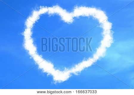 Abstract Heart Love Concept Draw On The Blue Sky With White Clouds Background With Alpha Channel Mat