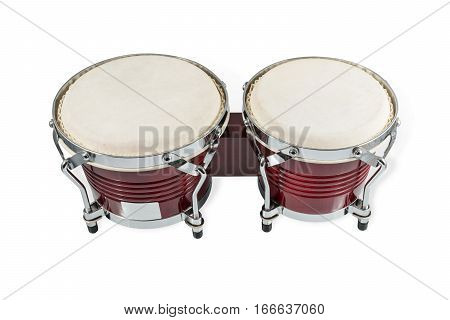 Two African hand drum made of leather and wood isolated on white background