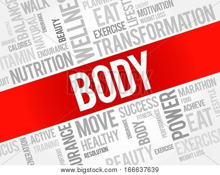 BODY word cloud background , health concept