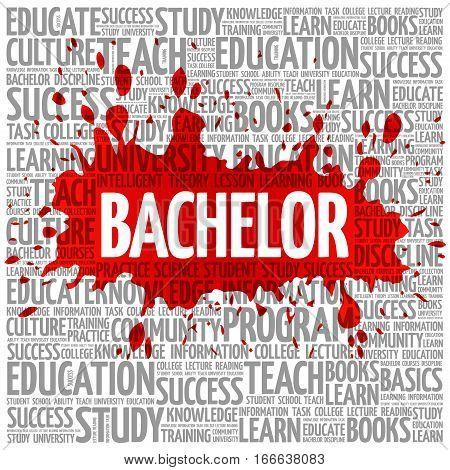 Bachelor word cloud , education concept background