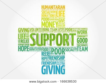 Support cross word cloud collage , social concept background