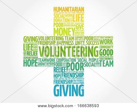 Volunteering cross word cloud collage , social concept background