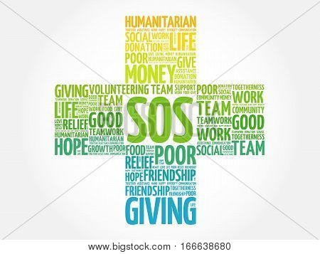 SOS word cloud collage, social concept background