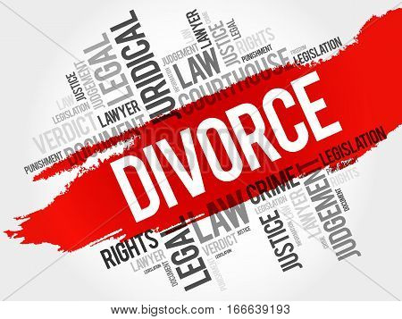 Divorce word cloud collage , social concept background