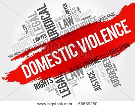Domestic Violence word cloud collage , law concept background