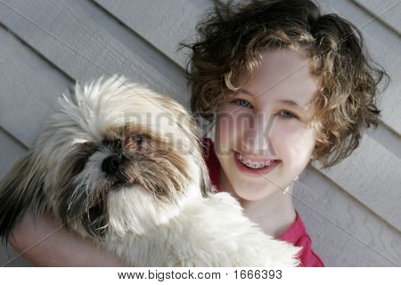 Girl And Her Shih Tzu