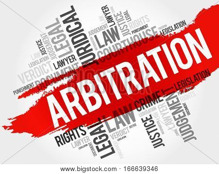 Arbitration word cloud collage, social concept background