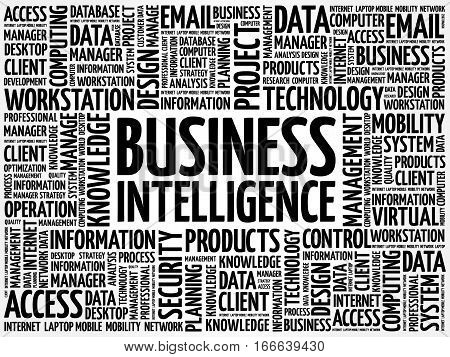Business intelligence word cloud, technology business concept background