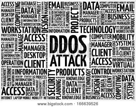 DDOS Attack word cloud, technology business concept background