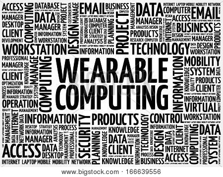 Wearable Computing word cloud, technology business concept background
