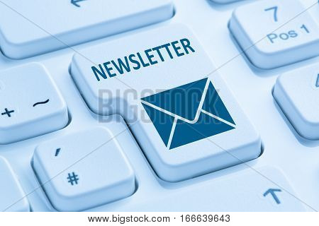 Sending Newsletter Internet Business Marketing Campaign Blue Computer Keyboard