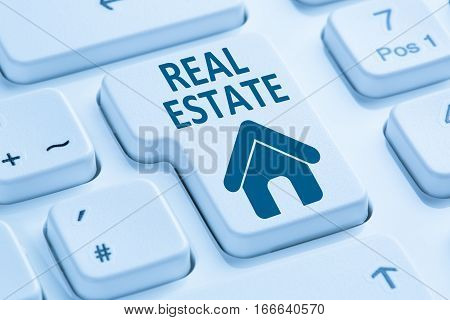 Selling Buying Real Estate Home Icon Online Blue Computer Keyboard