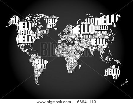 Hello Word Cloud World Map In Typography