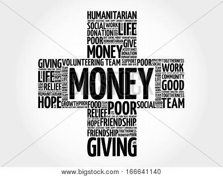 Money cross word cloud collage , social concept background