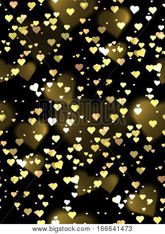 Seamless luxurious texture with hearts and bokeh sparkles. Vector background for your creativity