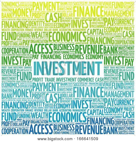 INVESTMENT word cloud collage , business concept background