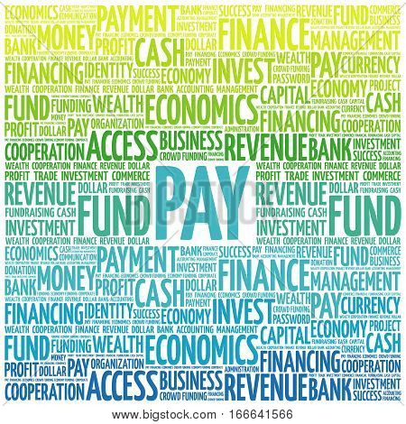 PAY word cloud collage , business concept background