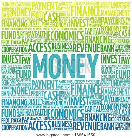 MONEY word cloud collage , business concept background
