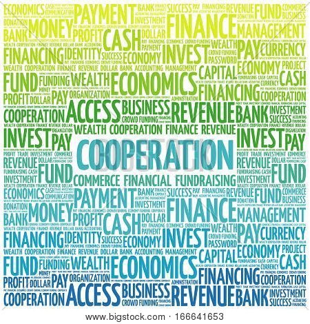 COOPERATION word cloud collage , business concept background