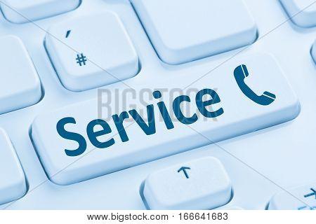 Service Customer Hotline Telephone Call Calling Blue Computer Keyboard