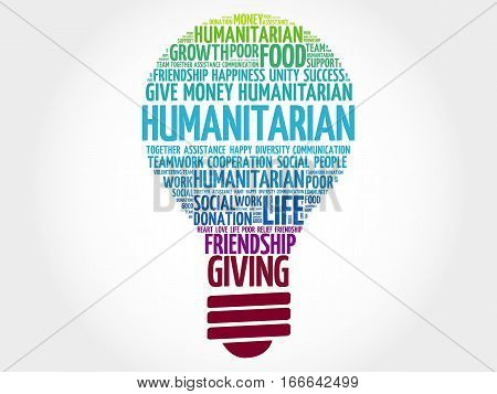 Humanitarian bulb word cloud collage , social concept background