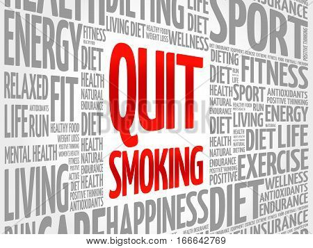 Quit Smoking Word Cloud Background,