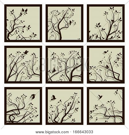Set of square icons stylized tree branches and birds with its shadow in frame.