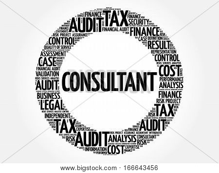 CONSULTANT word cloud collage, business concept background