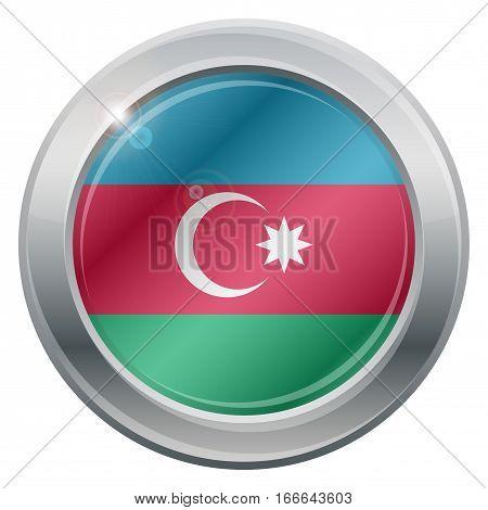 Azerbaijan Flag Silver Icon