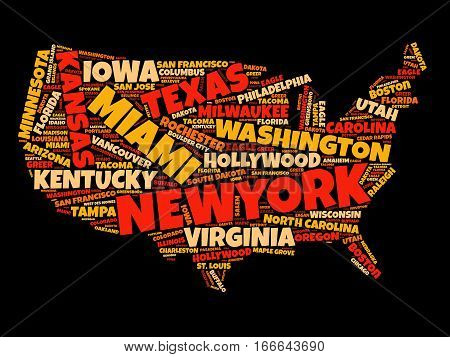 Usa Map Word Cloud Collage