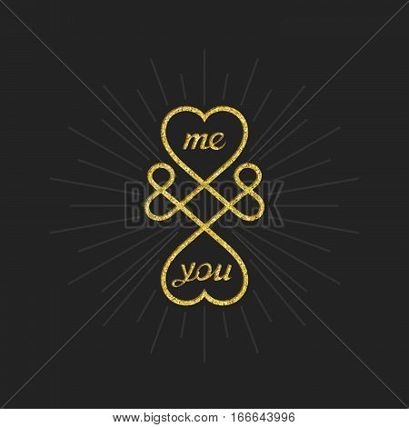 Me and you. Conceptual symbol of infinite love between two people. Vector sign design