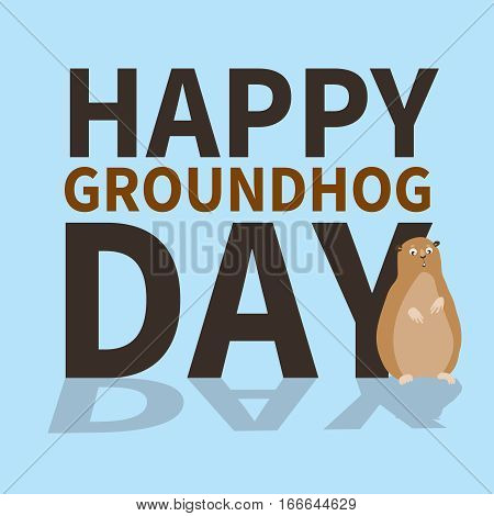 Happy groundhog day.logo, icon, cute groundhog is scared of his shadow, perfect for greeting cards, invitations, posters, prints on T-shirt, wish text, vector illustration, isolated on a blue background.