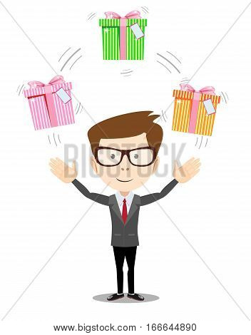 Vector illustration Happy man juggling gift box with bow