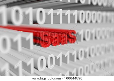 SAAS is represented as a binary code with blurred background 3d illustration