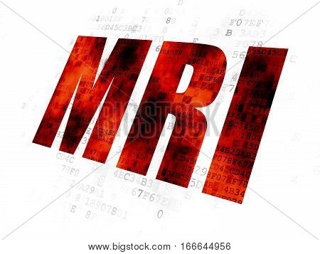 Healthcare concept: Pixelated red text MRI on Digital background