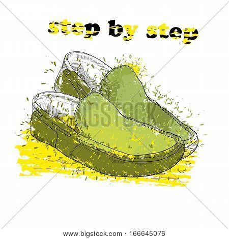 Vector illustration of Hand drawn moccasin shoes with watercolor effect, ink, art and blot object. Step by step. Green spring.