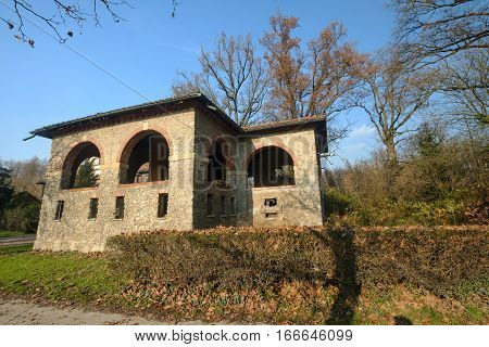 Monza (Brianza Lombardy Italy): old farmstead of Mulini Asciutti into the Park in november poster
