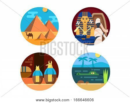 Travel to Egypt set. Pyramid of Cheops and mummy. Vector illustration. Pixel perfect icons size - 128 px