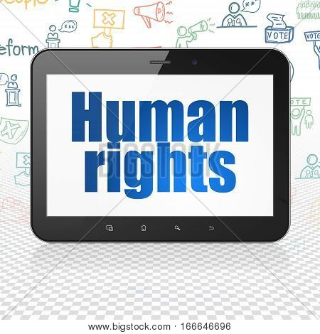 Politics concept: Tablet Computer with  blue text Human Rights on display,  Hand Drawn Politics Icons background, 3D rendering