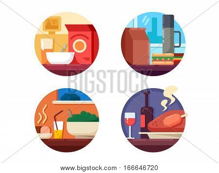 Set of food icons to dinner or breakfast. Vector illustration. Pixel perfect icons size - 128 px