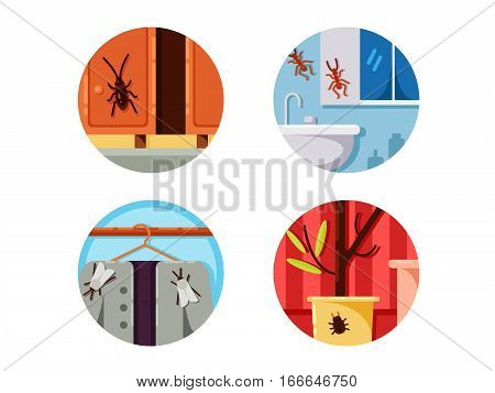 Household vermin set. Cockroach and moth. Vector illustration. Pixel perfect icons size - 128 px