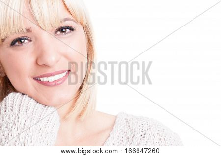 Close-up Of Preety Blonde Girl Posing And Smiling
