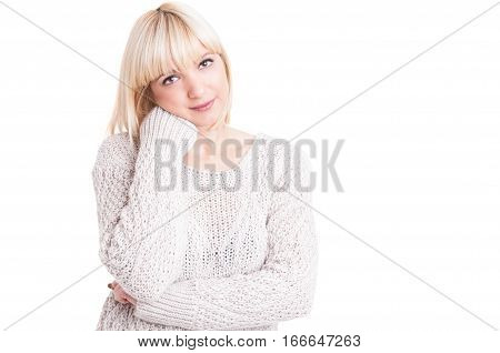 Portrait Of Beautiful Blonde Girl Posing Confortable