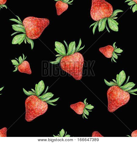 Strawberry on black background. Watercolor drawing of strawberry berries. Handwork drawn. Watercolor seamless strawberry pattern for fabric design